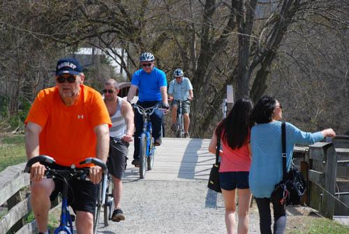 Cyclist on Foot Bridge